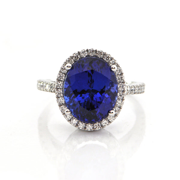 6.35CT Tanzanite and Diamond Ring in 18K White Gold + Montreal Estate Jewelers