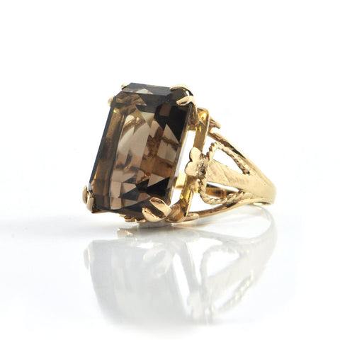 21.28CT Smokey Quartz 14k Yellow Gold Cocktail Ring C.1960-70 + Montreal Estate Jewelers