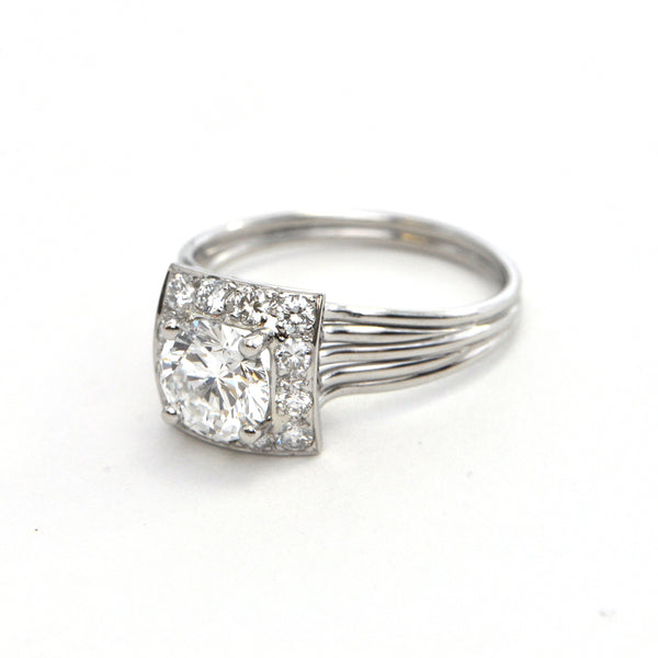 1.04 CT D-Colour Round Brilliant Diamond and Platinum setting Circa 1960 - GIA certified - montreal estate jewellers