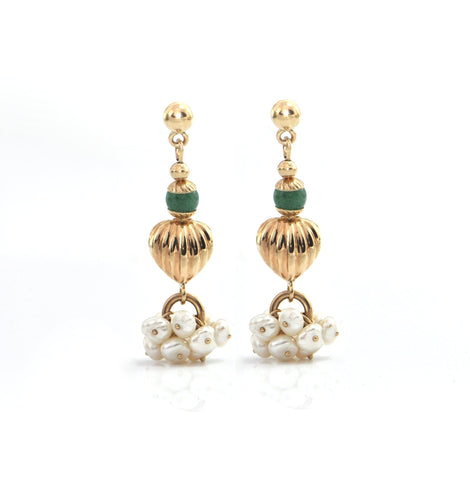 Nephrite Jade and Freshwater Pearl 14K Yellow Gold Earrings C. 1960 + Montreal Estate Jewelers