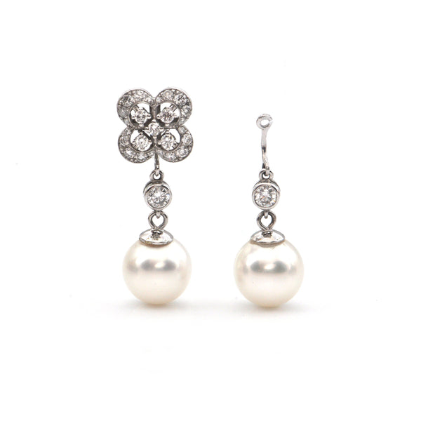 0.34CT Diamond and 10.2-10.4 mm Round South Sea Pearl 18K White Gold Earring Enhancers + Montreal Estate Jewelers