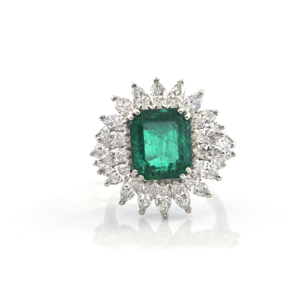 Colombian 6.34 CT GIA Certified Emerald and Diamond Cocktail Ring C.1960 Italy + Montreal Estate Jewelers