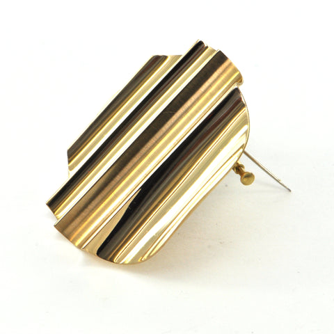 Walter SCHLUEP 18k Undulating Brooch circa 1970 - montreal estate jewellers