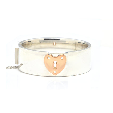 Vintage Tiffany & Co. Large Hinged 925 Sterling Silver Bangle with 18K Rose Gold Heart + Montreal Estate Jewelers
