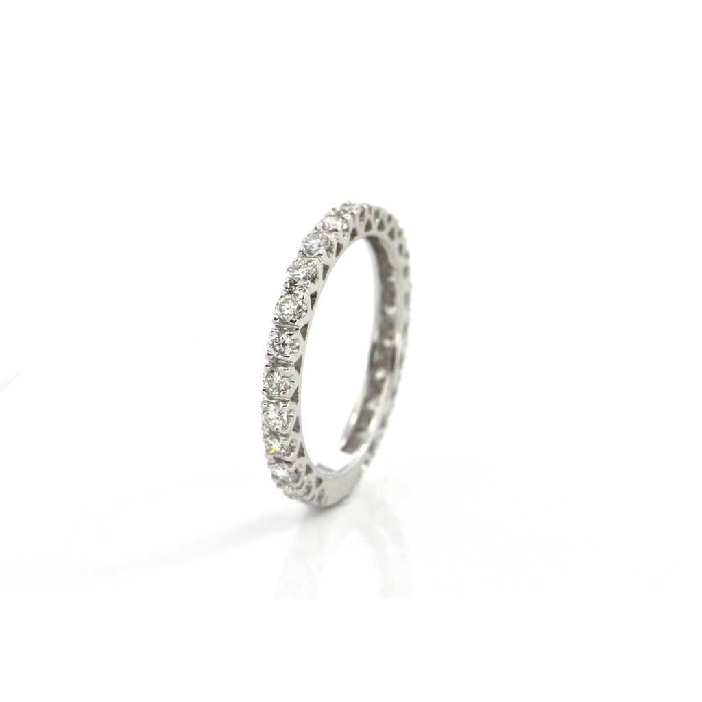 Vintage Mod 0.80CT Diamond 18K White Gold Eternity Band + Montreal Estate Jewelers