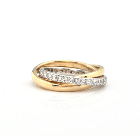 Diamond Pavé Eternity and 14K Yellow Gold Band Trinity Ring