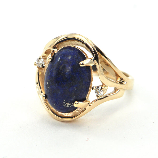 Vintage Lapis and Diamond ring 14k - montreal estate jewellers