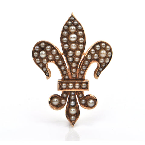 French 14K Yellow Gold and Seed Pearl Fleurs de Lys Brooch/Pendant C.1880 + Montreal Estate Jewelers