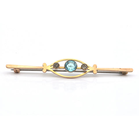 1.2CT Blue and 0.22CT White Zircon 9K Yellow Gold Brooch C.1920 + Montreal Estate Jewelers