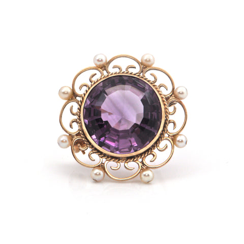 Vintage 15.6CT Amethyst and Pearl 9K Yellow Gold Brooch/Pendant + Montreal Estate Jewelers