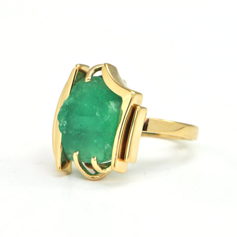 8.0 carat rough emerald ring circa 1970 - montreal estate jewellers