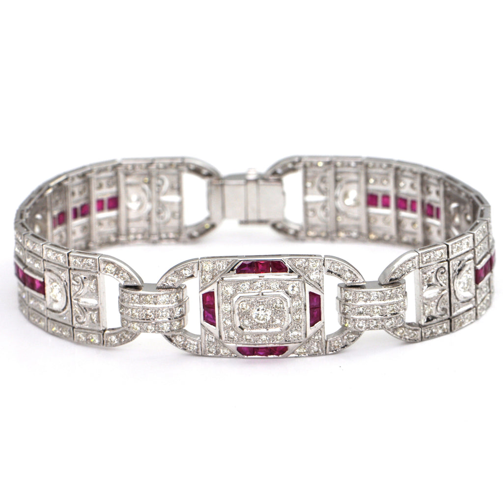 2.3 ct Diamond and 3.4 ct Ruby Panel Bracelet C.1990, montreal estate jewellers