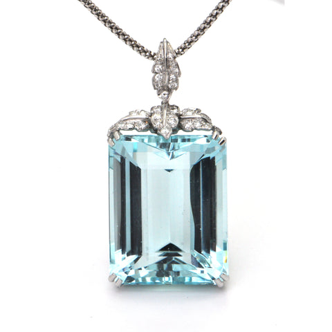 50.2 CT Aquamarine Pendant with diamond bail Circa 1970, montreal estate jewellers