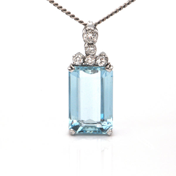 6.5CT Aquamarine and 0.35CT Diamond 18K White Gold Pendant C.1960 + Montreal Estate Jewelers