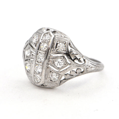 0.45 ct Art Deco Diamond ring 18k Circa 1920 - montreal estate jewellers
