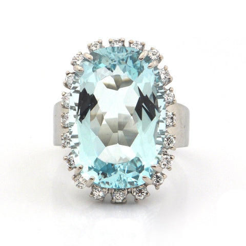 Vintage 15.3CT Aquamarine and 0.60CT Diamond 18K White Gold Ring + Montreal Estate Jewelers