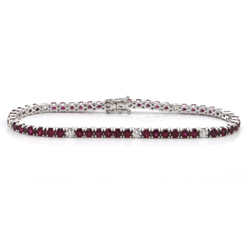 6.58 ct Burmese Ruby and 0.78 ct Diamond 18K White Gold Tennis Bracelet