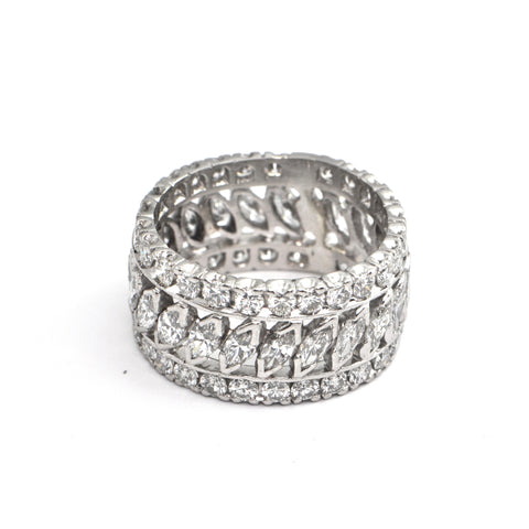 3.75ct Wide Marquise and Round Diamond Eternity Band Platinum, montreal estate jewellers