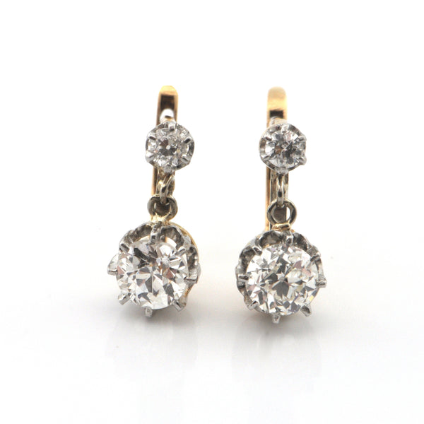 Second Empire French 1.53ct Diamond and 18K Gold Drop Earrings C. 1850 + Montreal Estate Jeweler