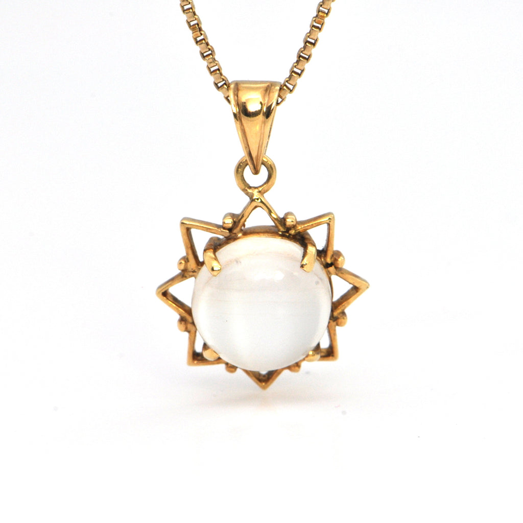 Moonstone pendant 18k yellow gold, montreal jeweller, custom design westmount