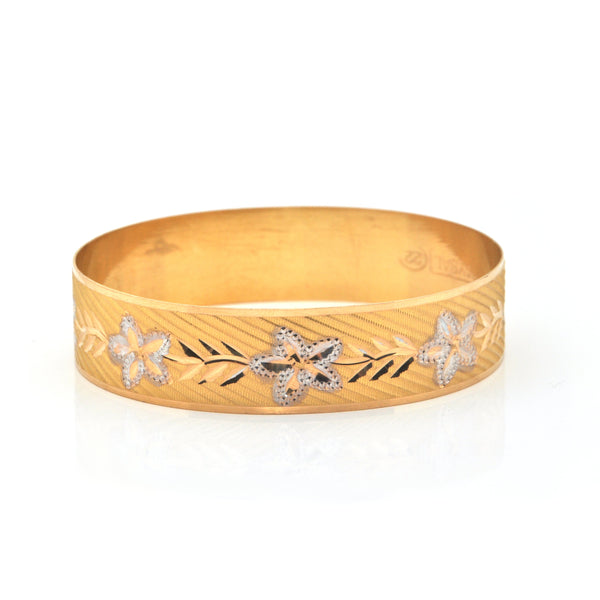 Turkish 22K Yellow and White Bangle Bracelet with Etched Floral Motif + Montreal Estate Jewelers