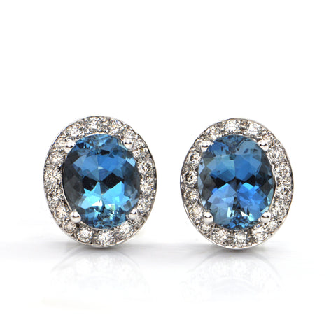 Double Blue Aquamarine & Diamond Stud Earrings + Montreal Estate Jewelers