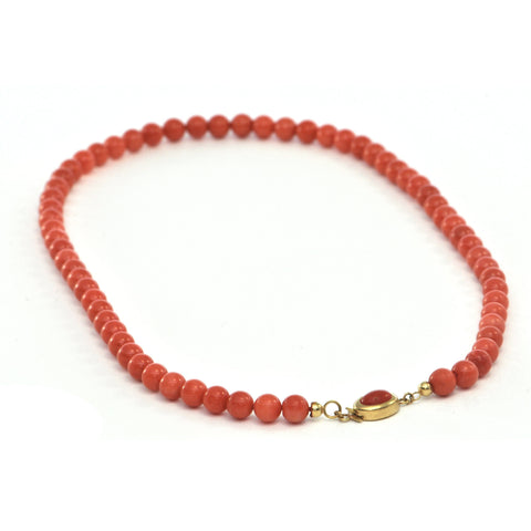 Vintage Italian Single Strand Round Beaded Coral and 18k Yellow Gold Necklace + Montreal Estate Jewelers