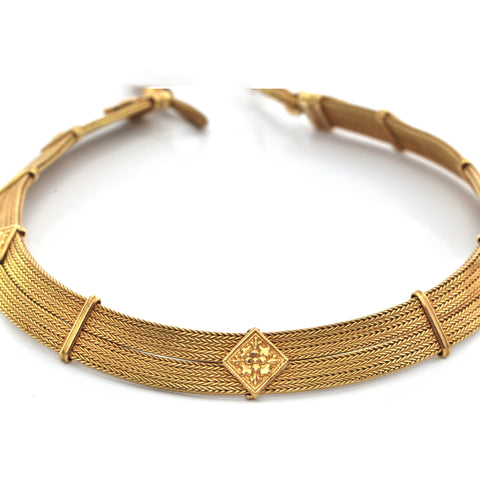 Vintage 22K Yellow Gold Woven Collar Necklace + Montreal Estate Jewelers