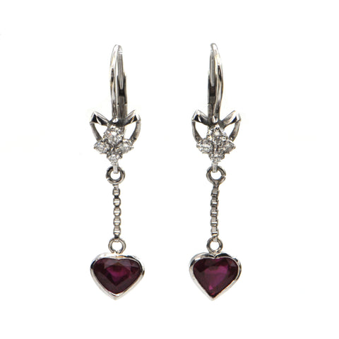 Vintage 18K Ruby Heart & Diamond Earrings + Montreal Estate Jewelers