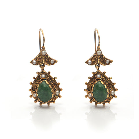 Vintage Pear Shaped Cabochon Nephrite Jade and Seed Pearl 14K Gold Drop Earrings + Montreal Estate Jewelers