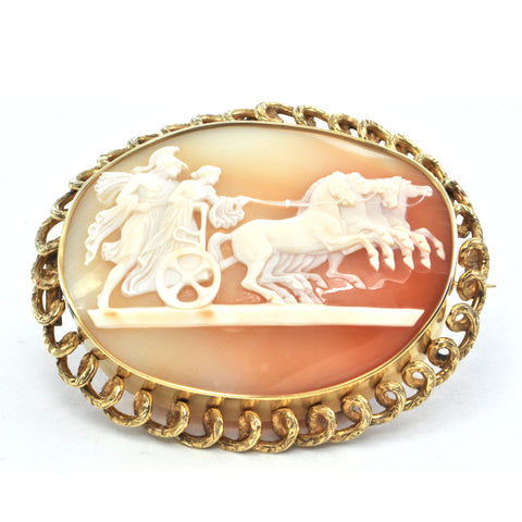 Vintage 22K Yellow Gold Shell Cameo Brooch/Pendant of a Man and Woman Riding a Chariot + Montreal Estate Jewelers