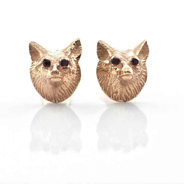 Vintage 14K Yellow Gold Fox Head with Ruby Eye Stud Earrings + Montreal Estate Jewelers