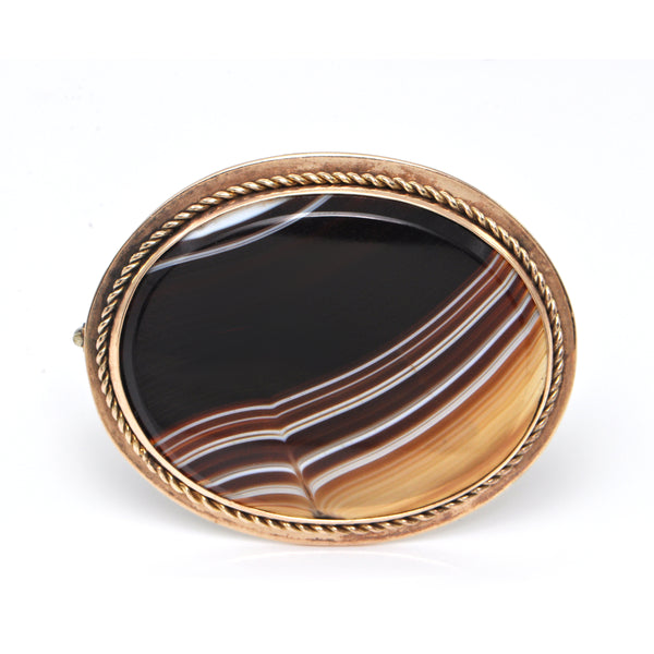 Victorian Banded Agate Brooch 9k + Montreal Estate Jewelers