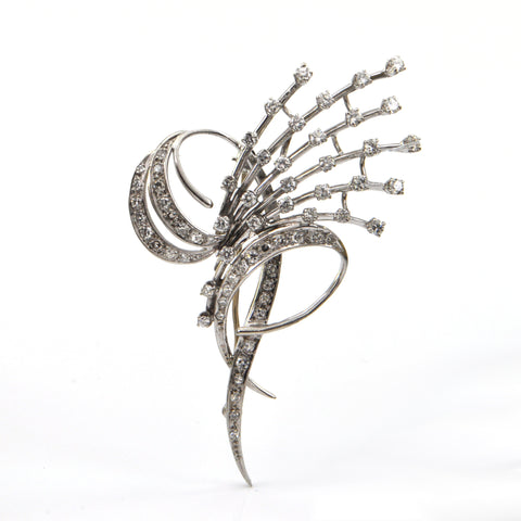 Diamond Spray Brooch in 18k White Gold + Montreal Estate Jewelers