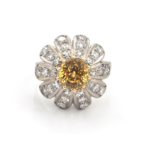 Yellow Sapphire & Diamond Ring in Antique Platinum Setting + Montreal Estate Jewelers