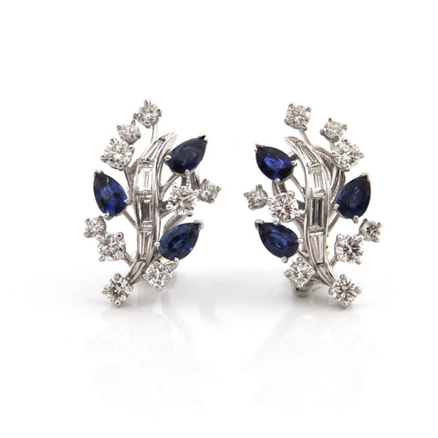 Clip on 2.3CT Diamond and 1.7CT Sapphire Platinum Earrings C.1960 + Montreal Estate Jewelers