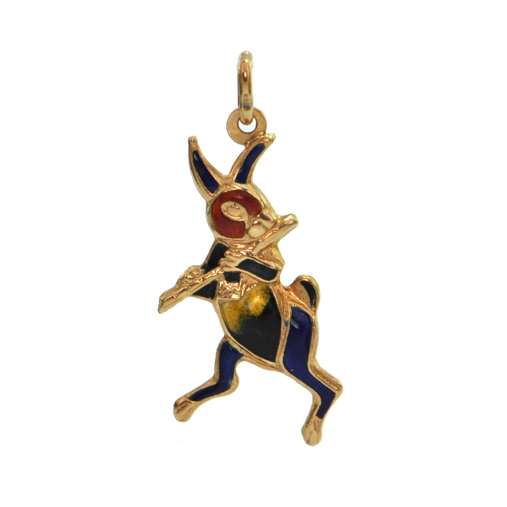 18K Yellow Gold and Enamel Rabbit Charm + Montreal Estate Jewelers