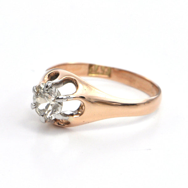 0.70 ct Antique Victorian Rose Gold Solitaire Diamond Ring, montreal estate jeweller, westmount