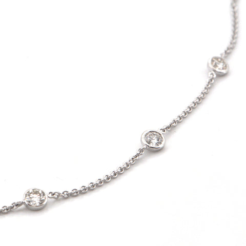 3.35CT Diamond and 18K Gold Station Necklace + Montreal Estate Jewelers