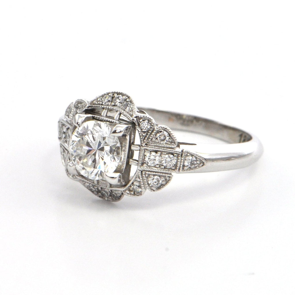 white shaped in daisy gold deco ring engagement platinum cluster diamond rings pin art