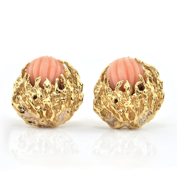 Vintage Coral and 18K Yellow Gold Earrings + Montreal Estate Jewelers