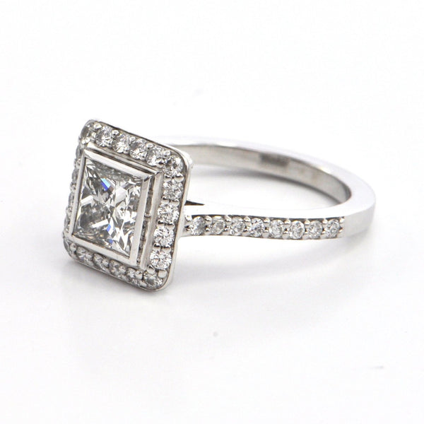 1.34 ct Vintage Princess cut Diamond Ring with Halo , montreal engagement jewelry, westmount