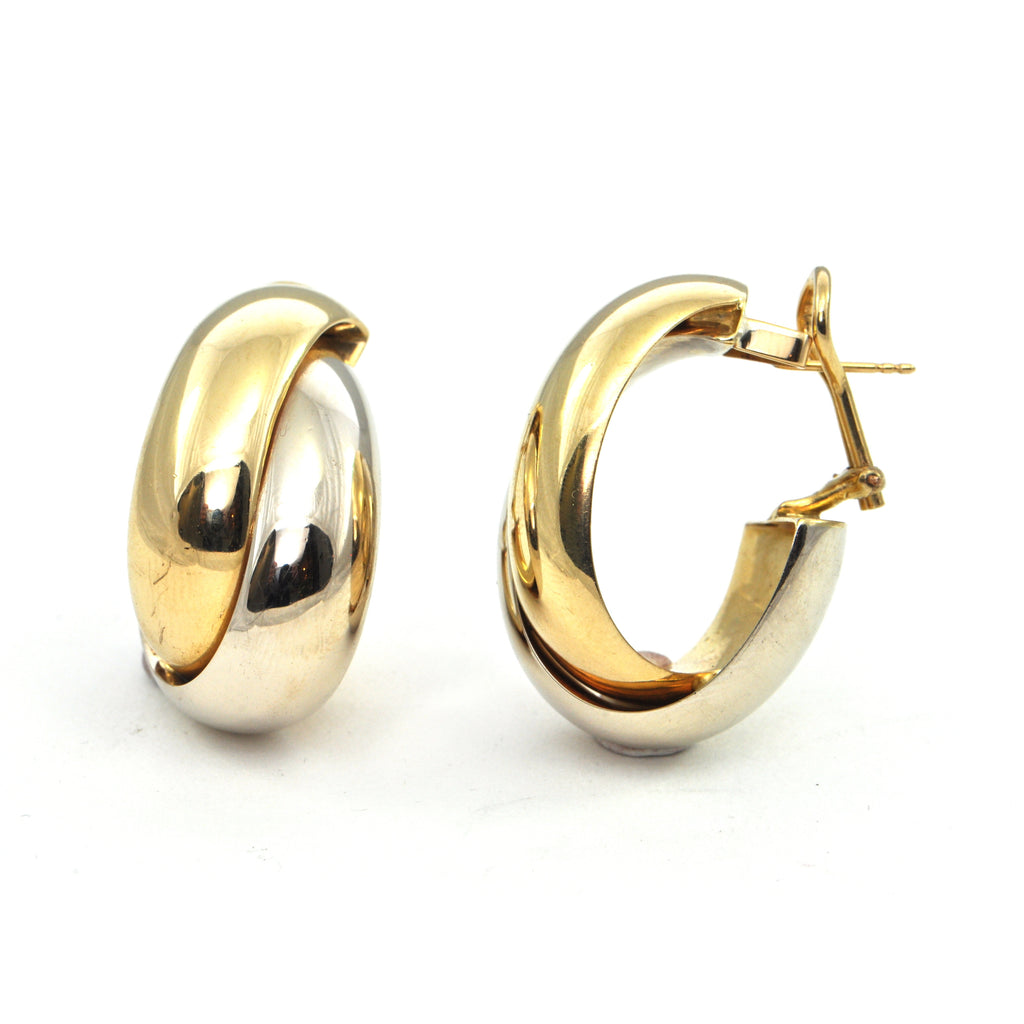 Vintage 18k two tone wide hoop earrings - montreal estate jewellers