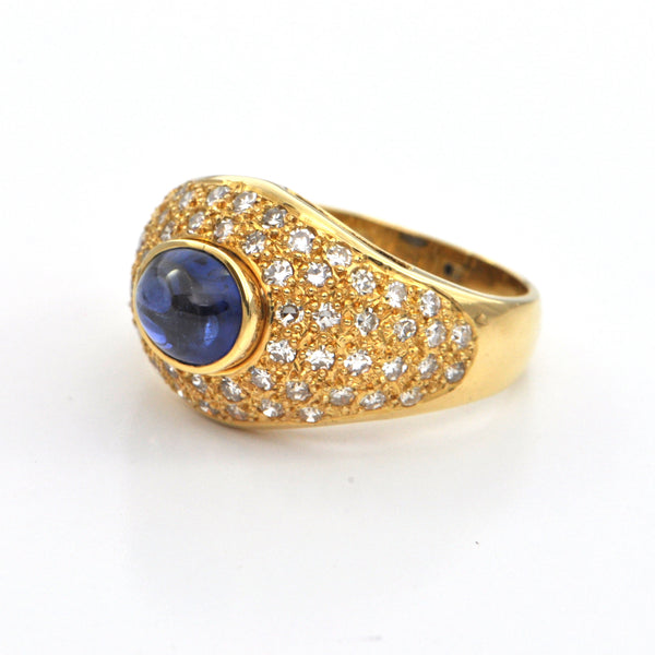 2.20 ct Vintage Sapphire Cabochon and diamond 18k ring, montreal jeweller, westmount