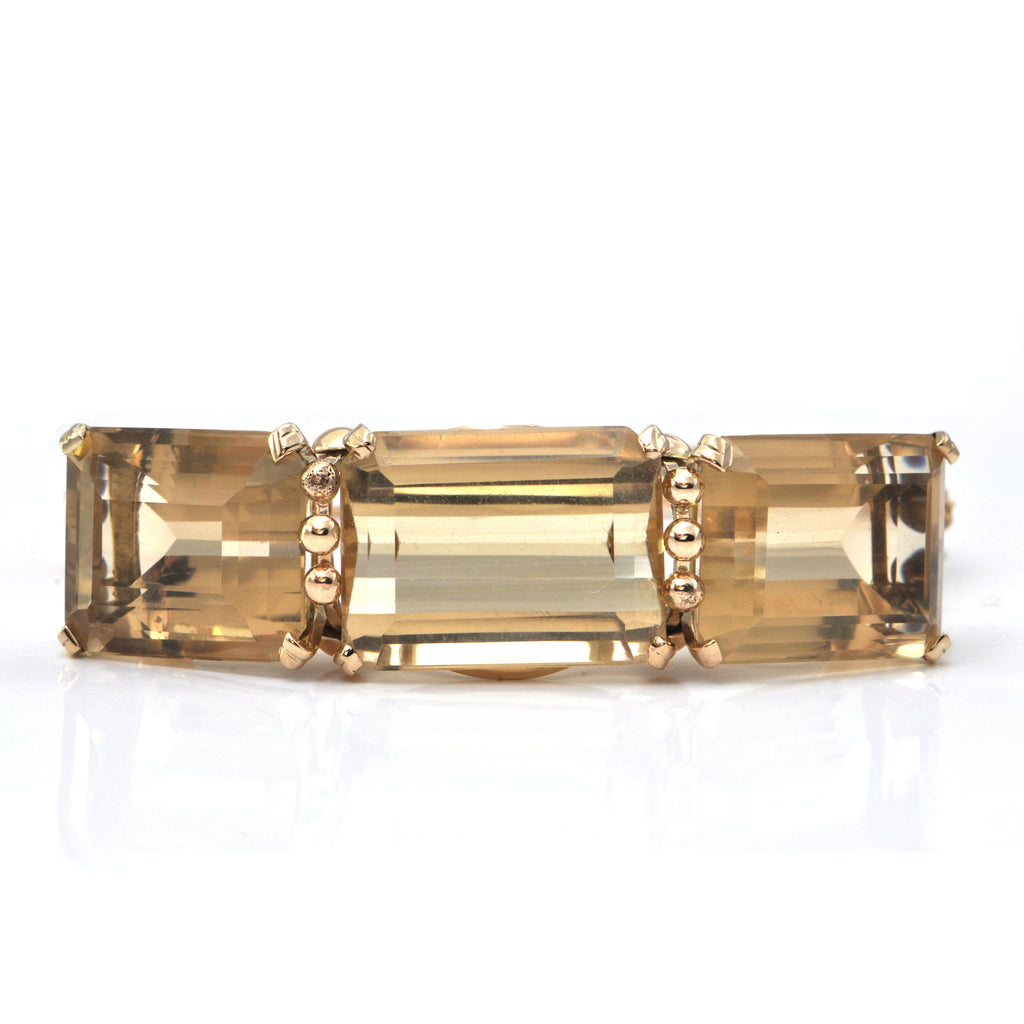 1950's 14K Yellow Gold and 76CT Citrine Hinge Bangle Bracelet + Montreal Estate Jewelers