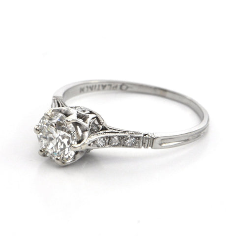 0.81 ct Platinum Art Deco Solitaire Diamond Ring Circa 1920