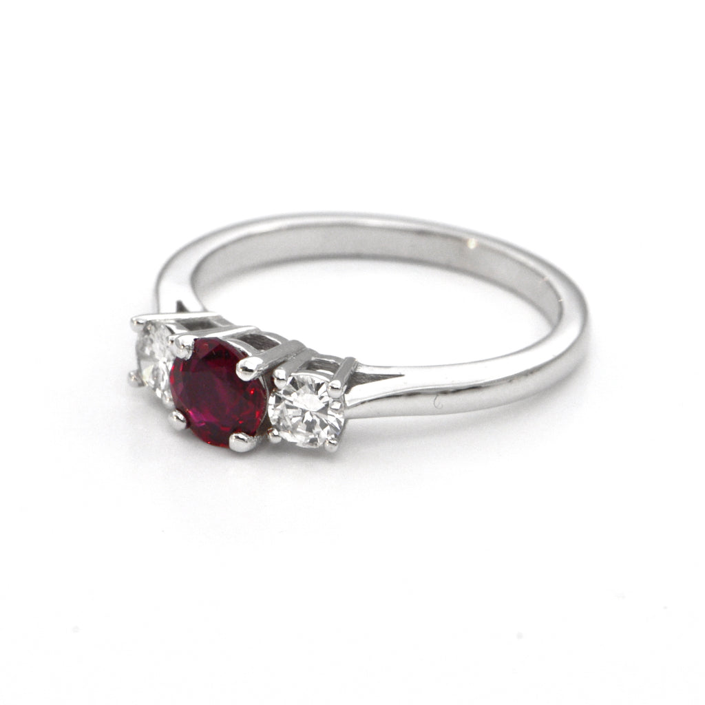 0.66 ct Ruby and Diamond Three Stone ring by Daisy Exclusive, montreal jewelry, custom design westmount