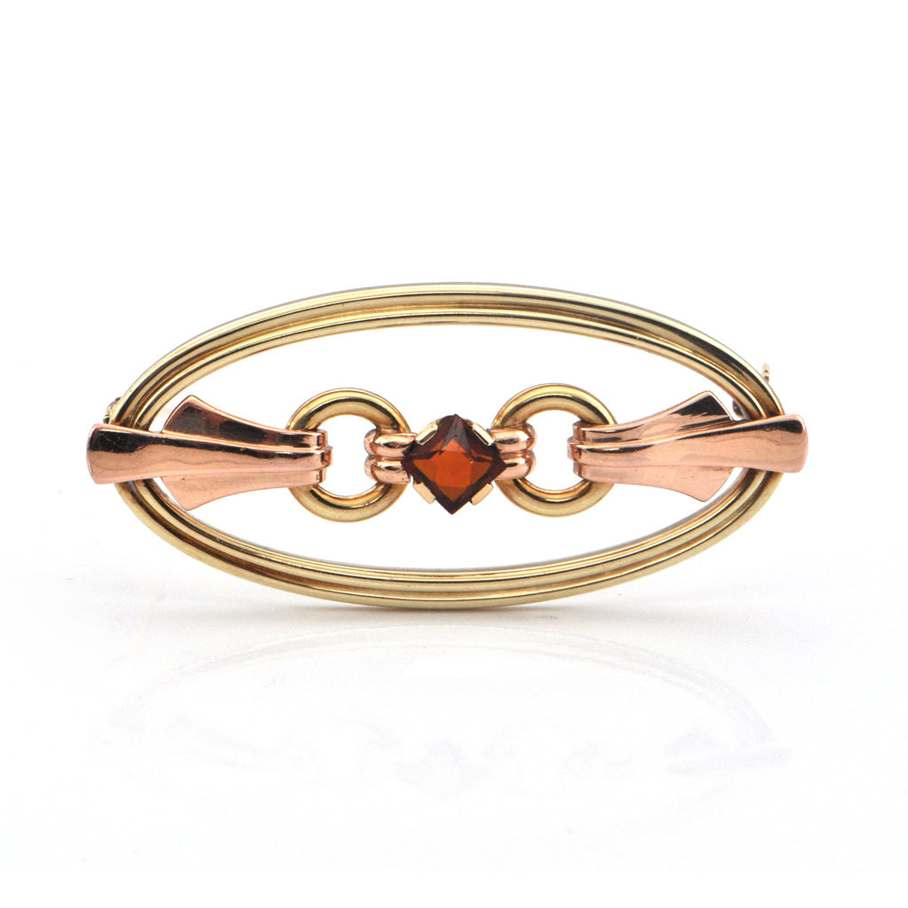 Art Deco 0.44CT Citrine and 14K Yellow and Rose Gold Brooch