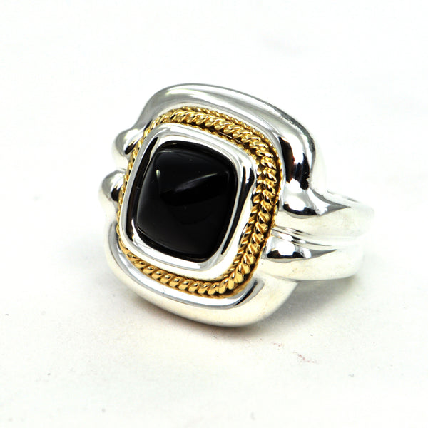 Tiffany & co vintage black onyx ring in silver and 18k gold