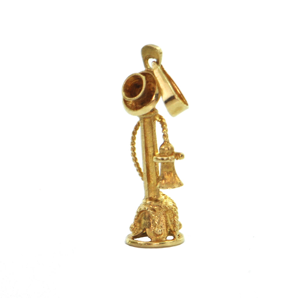 18K Yellow Gold Candlestick Telephone Charm + Montreal Estate Jewelers